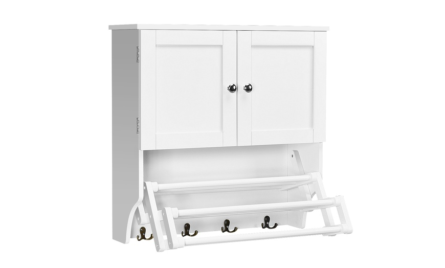Costway Bathroom Wall Cabinet Towel Bar, White Over The Toilet Cabinet With Towel Bar