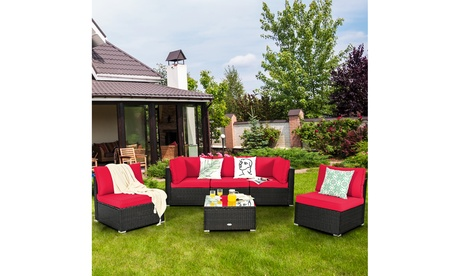 Costway 6PCS Patio Rattan Furniture Set Cushioned Sofa Coffee Table Red