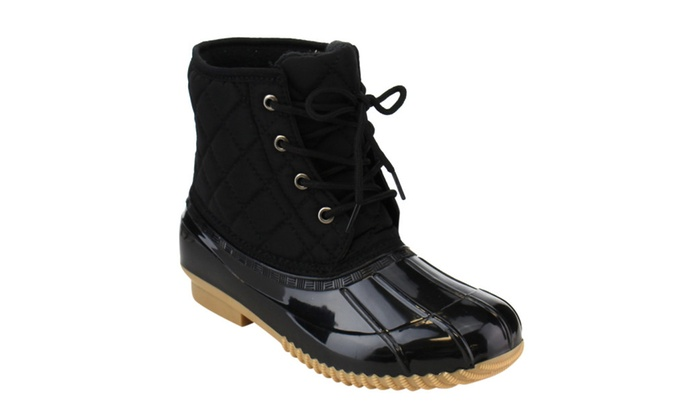 Beston EE31 Women's Quilted Lace Up Duck Ankle Bootie