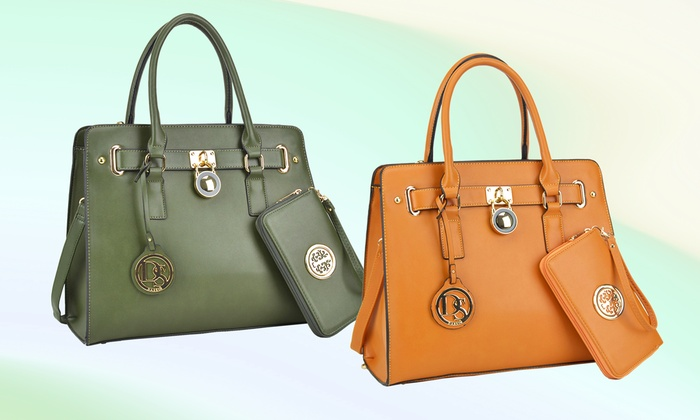 e22a05dac5f74b MK Belted collection Saffiano Leather Satchel with Matching Wallet ...