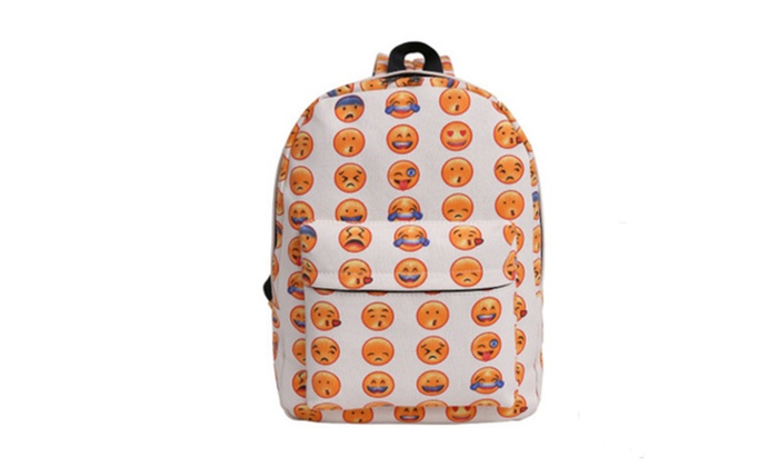 Canvas Backpack For Teenager Girls Cute Emoji Printing School Bags