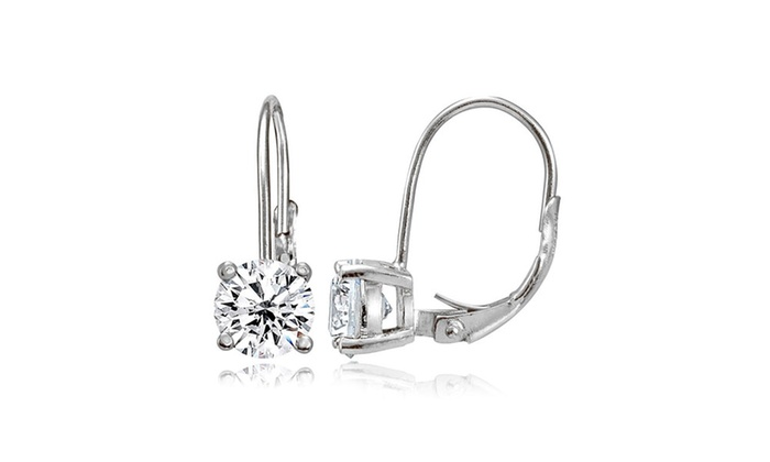 Groupon Goods: Sterling Silver Created White Sapphire 6mm Round Leverback Earrings