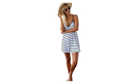 Women's Black White Stripes V-neck Backless Sexy Dress ccfee926-8036-4a34-b70f-5f70cefe1fbc