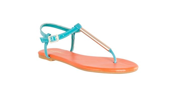 Riverberry Women's 'Macalen' T-strap Metallic Detail Sandals, Seafoam