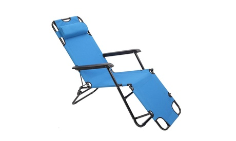 Folding Chaise Lounge Chair Patio Outdoor Pool Beach Lawn Recliner Reclining