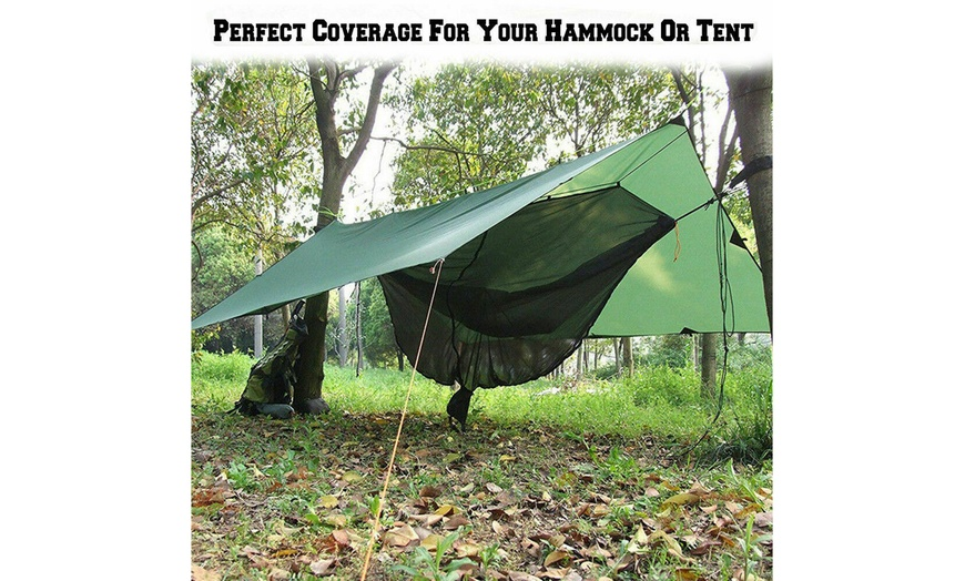 US Waterproof Camping Tent Tarp Shelter Hammock Cover Lightweight Rain Fly 10x10
