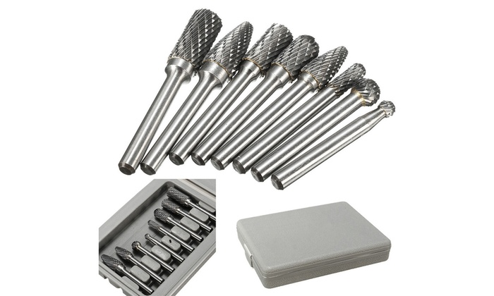 "8X  1//4/"" Double Cut Carbide Rotary BurrShank File Power Tools Double Cut Set"