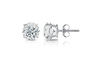 14k White Gold 2.0 ct Round White Cubic Zirconia Stud Earrings
