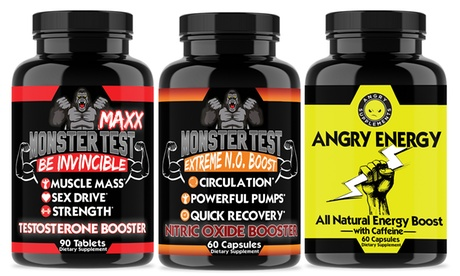Monster Test Maxx Testosterone Booster, Nitric Oxide & Energy Boost (3-Pack)