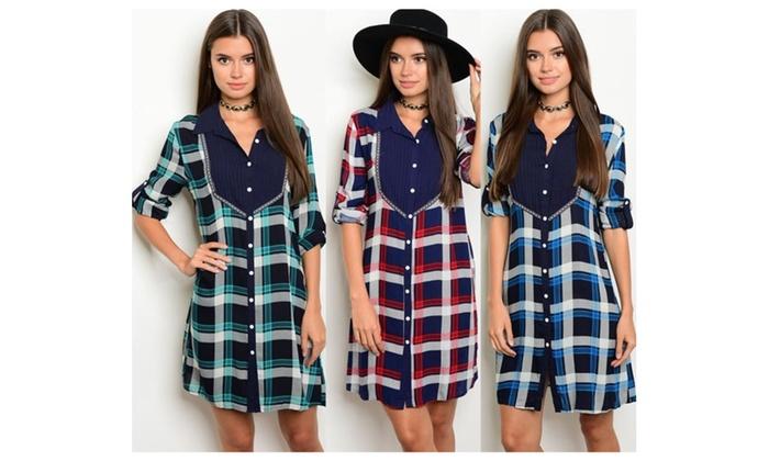 Women's Fashion Short Tab Sleeve Button Down Plaid Casual Dress