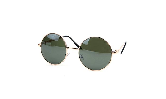 John Lennon 60's Vintage Round Hippie Sunglasses P2012(Gold Green) - Gold / Green Mirror