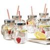 Estilo Mason Jar Mugs with Handle and Straws (Set-of-6)