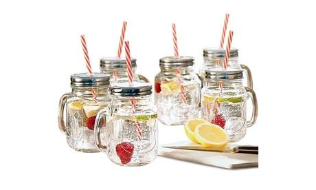 Estilo Mason Jar Mugs with Handle and Straws Set of 6, 16 oz 5cd677f2-0e43-4c3f-91a8-b8b38df2db84