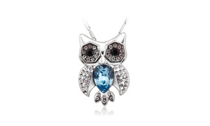 Diamond Accent Simulated Sapphire Owl Women's Necklace