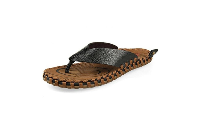 Men's Leather Slippers Beach Sandals Summer Outdoor Shoes Casual Sandals