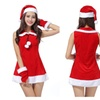 Women Christmas Costumes Sexy Santa Cosplay Holiday Dress With Belt On