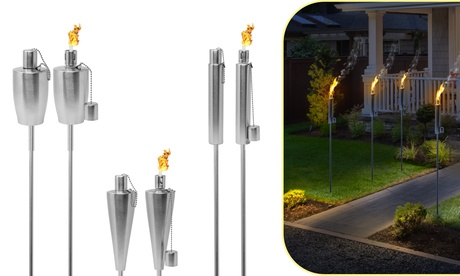 2-Pk Stainless Steel Torches - 5 Ft Long Garden Patio Decor & Mosquito Repellent