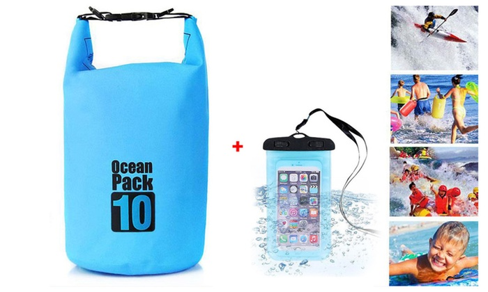 Outdoor Dry Bag for Drifting/Rafting/Swimming w/ Waterproof Phone Case
