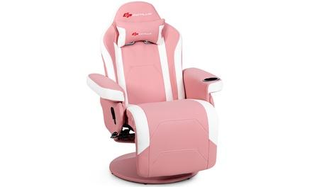 Goplus Massage Gaming Recliner Reclining Racing Chair Swivel