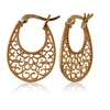 Rose Gold Flash Sterling Silver High Polished Floral Filigree Oval Flat Earrings