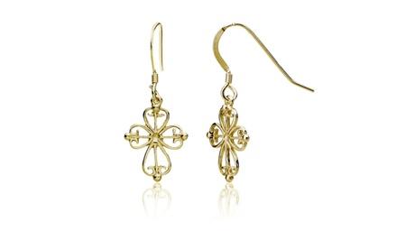 Yellow Gold Flashed Sterling Silver Celtic Filigree Cross Dangle Earrings b3f138a9-8b98-4975-99ed-0106dcf9b50a