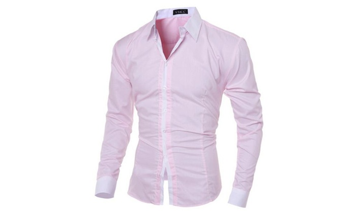 Men's Stylish Colorblocking Slim Fit Long Sleeves Lapel Shirt