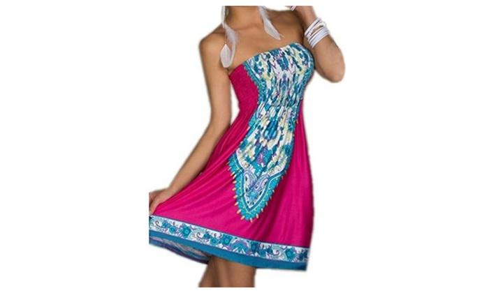 ACVIP Women's Bohemian Beach Dresses Rose