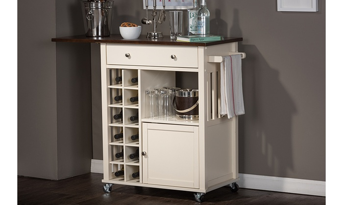 Closeout Easton Dark Brown Wood Modern Dry Bar And Wine Cabinet