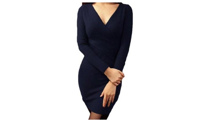 Women's Pencil Slim Fit Casual Pullover Long Sleeve Dresses