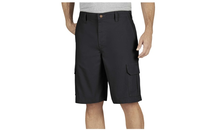 """Dickies 11/"""" Relaxed Fit Lightweight Duck Cargo Shorts RINSED BLACK DR251RBK"""