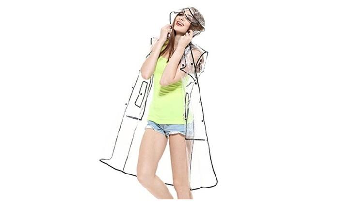 Gvance Women's Classic Cute Transparent Clear Raincoat Waterproof Jacket