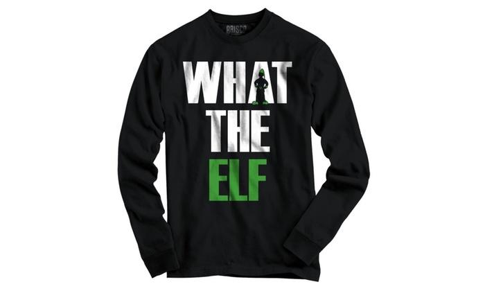 Funny Christmas Long Sleeve T Shirt What The Elf Pun Ugly Christmas Sweater Tee