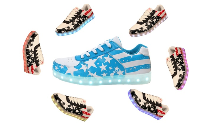 LED Sneakers USA Flag Unisex Light Up Shoes Flashing Sneaker 7 Color