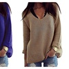 Womens Casual Hollow Knit V-Neck Blouse Pullover