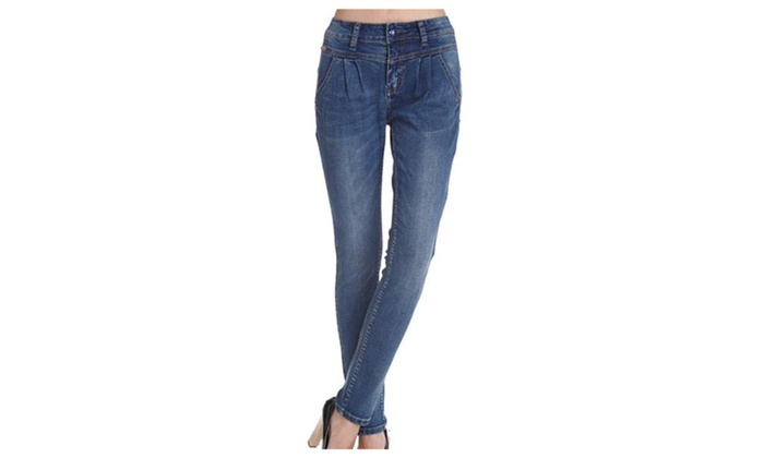 Women's Textured Skinny Casual Slim Fit Casual Jeans