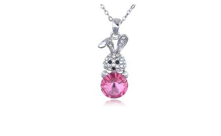 Rose Color Egg Cute Bunny Crystal Necklace 373f3687-fdff-4241-b533-50da5ad5ef0f