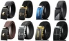 Men's Dress Belt Genuine Leather Ratchet Belt with Automatic Buckle