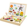 Wooden Drawing board Farm Jungle Animal  Toys Magnetic Puzzle