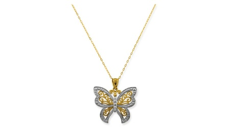 IceCarats Designer Jewelry 10k Yellow Gold 18 Butterfly Pendant on Chain