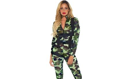 Leg Avenue Women's Pretty Paratrooper Camp Jumpsuit Sexy Soldier Costume