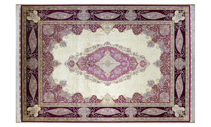 Yilong Carpet: Classic Traditional Hand Knotted Oriental Silk Persian Rug  - 10ft x 14ft (305cm x 427cm) / Traditional