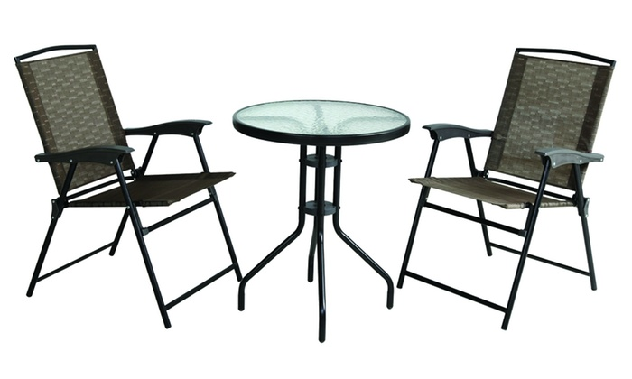 Folding Sling Chair And Table Set (3 Piece)
