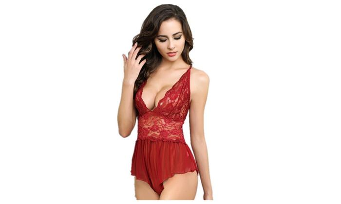 f5970df3c9184 Women Sexy Floral Lace Semi-sheer Babydoll Entice Lingerie Nightwear ...