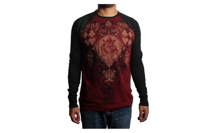 Wild Jester Long Sleeve Thermal Maroon T-shirt