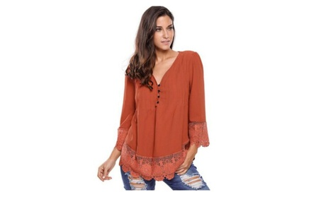 Women's Flare Sleeve Lace Splice Loose Trim Tops 21668259-0d38-4003-83dc-33454acdb528