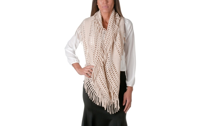 Riverberry Knit Infinity Scarf With Tassels KSF1415-2