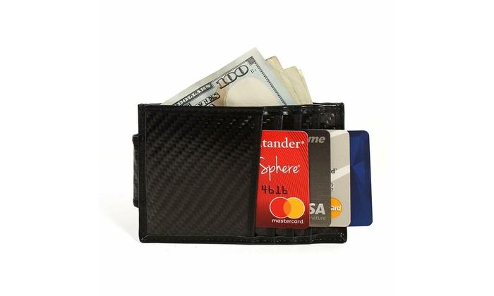 RFID Blocking Carbon Fiber Minimalist Slim Money Clip Front Pocket Mens Wallet