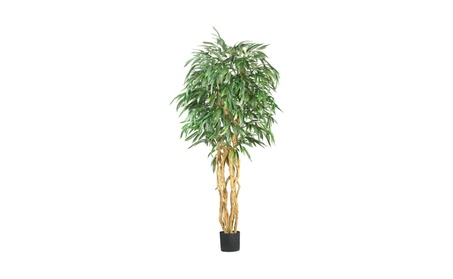 Nearly Natural 6' Weeping Ficus Silk Tree Green 230c67d9-33da-46ce-bfe4-b71d846e8ded