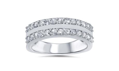 3/4 CT Diamond Double Row Wedding Womens Ring 14K White Gold 020c035d-b54e-4dca-9afc-1cbde0d91132