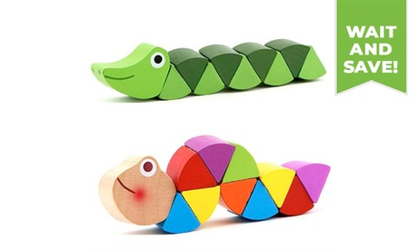 1PC Colorful Baby Kids Twisted Wooden Caterpillars Educational Toy